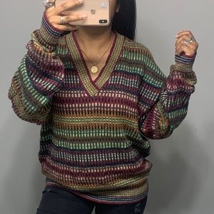 Vintage 90's Baggy Boho V Neck Traveler Sweater